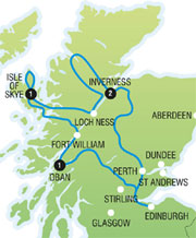 5 day West Coast Scotland Tour - map